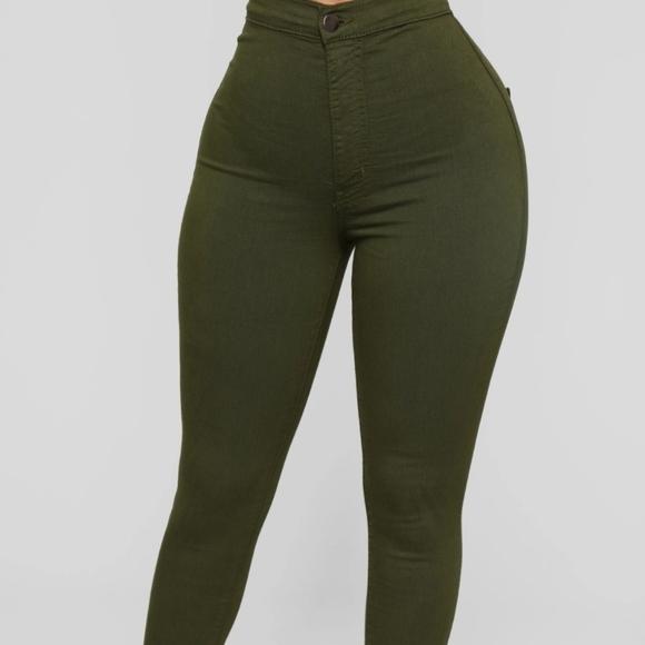 Sneak Peak High Rise Jeans - Olive Green